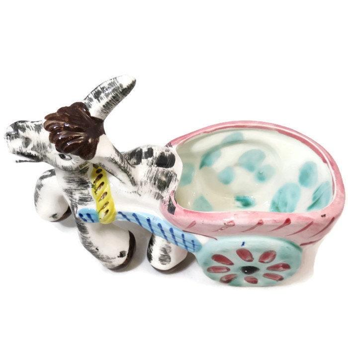 Image 1 of Donkey Cart Ceramic Planter