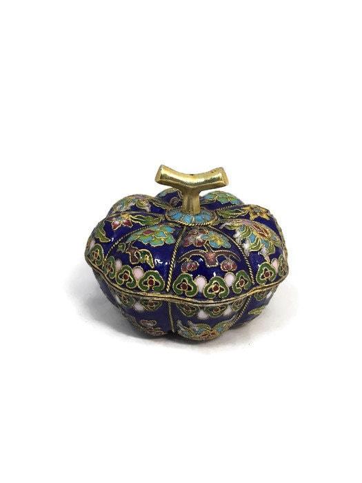 Vintage Chinese Cloisonne Enamel Trinket Box