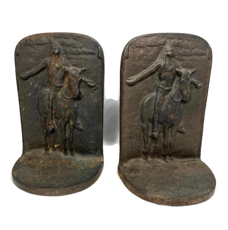 Vintage Native American Bookends - Appeal to the Great Spirit