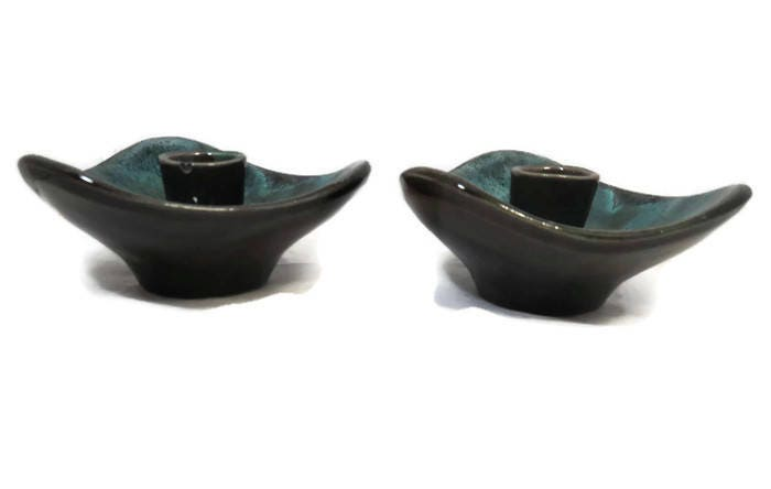 Image 6 of Mid Century Blue Mountain Pottery Candle Holders