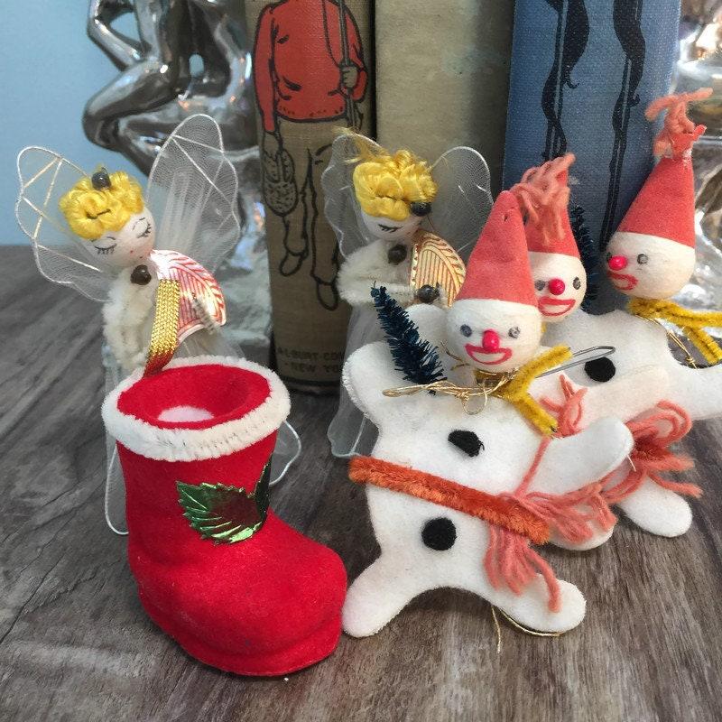 Midcentury Christmas Angels, Snowmen, Santa's Boot