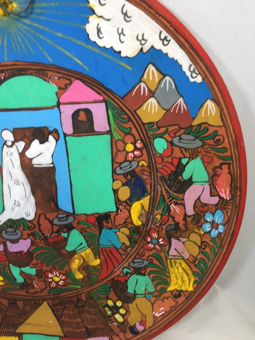 Image 2 of Mexican Folk Art Plate, Red Clay Wedding Dish