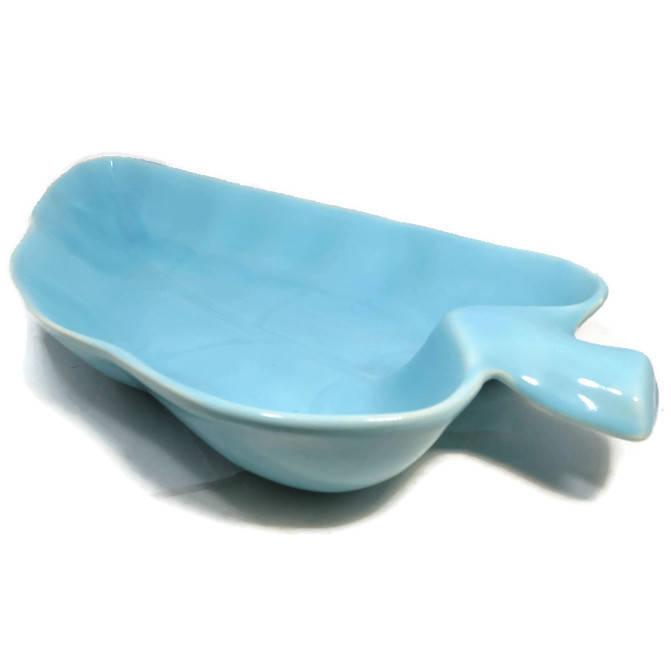 Image 1 of Mid Century Teal Leaf Dish