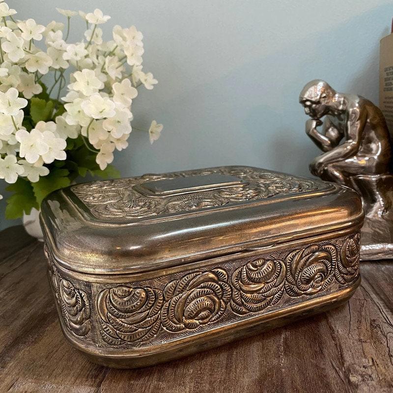 Vintage Ornate Silverplate Velvet Lined Jewelry Box