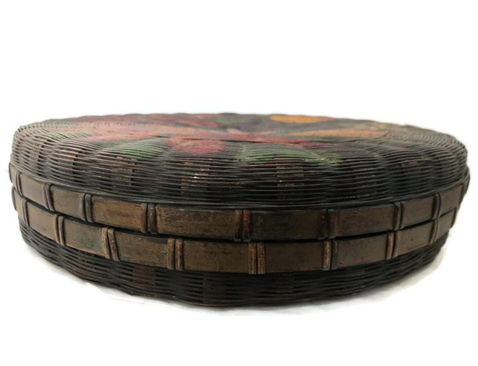 Image 2 of Antique Hand Painted Basket