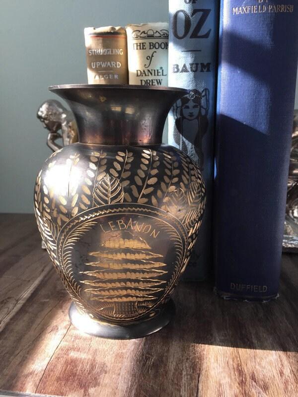 Image 8 of Vintage Etched Brass Lebanon Souvenir Vase