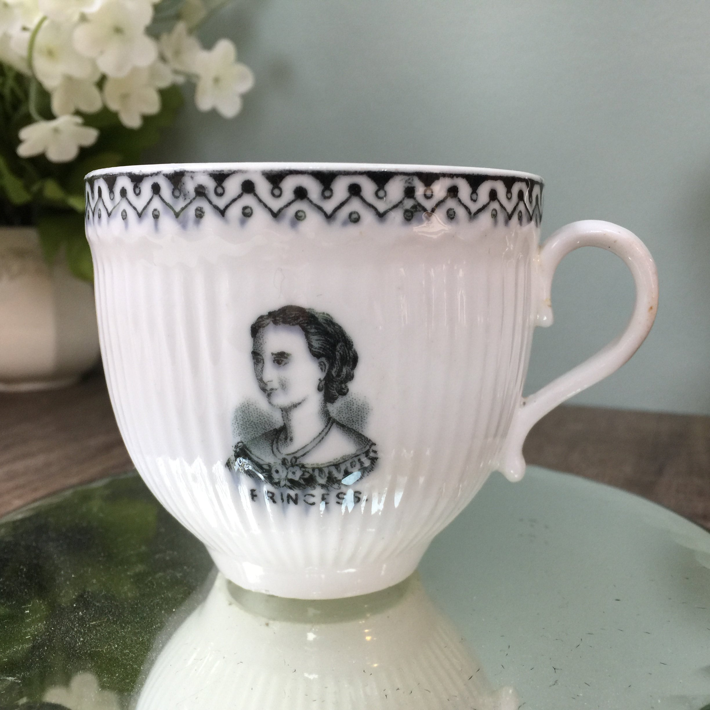 Antique English Royalty Cup, Prince and Princess