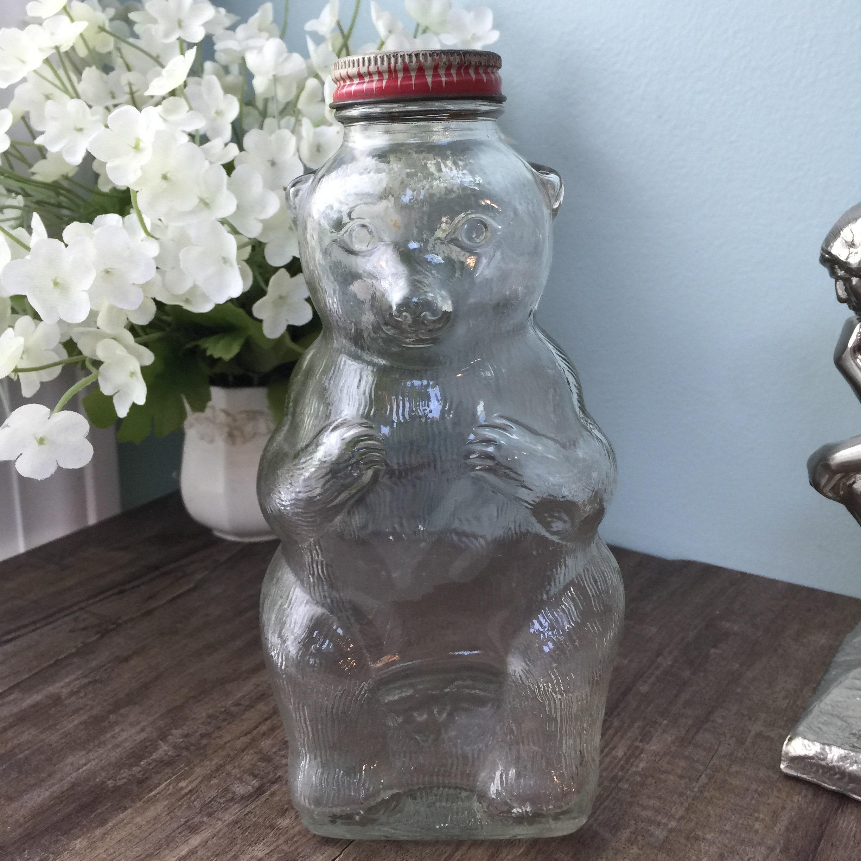 Vintage Teddy Bear Glass Bank