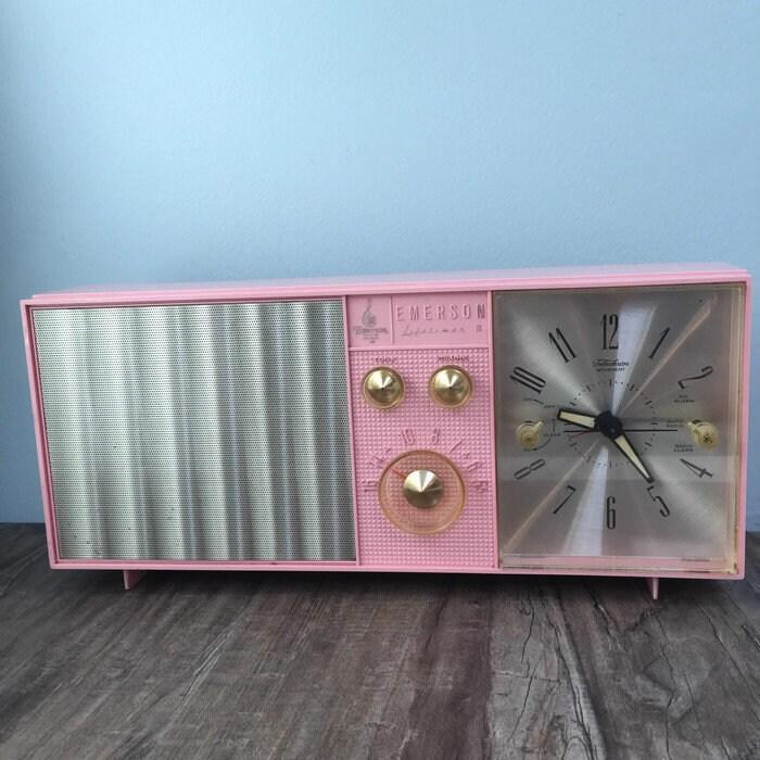 Image 9 of Mid Century Pink Clock Radio, Emerson Electric Lifetimer Telechron