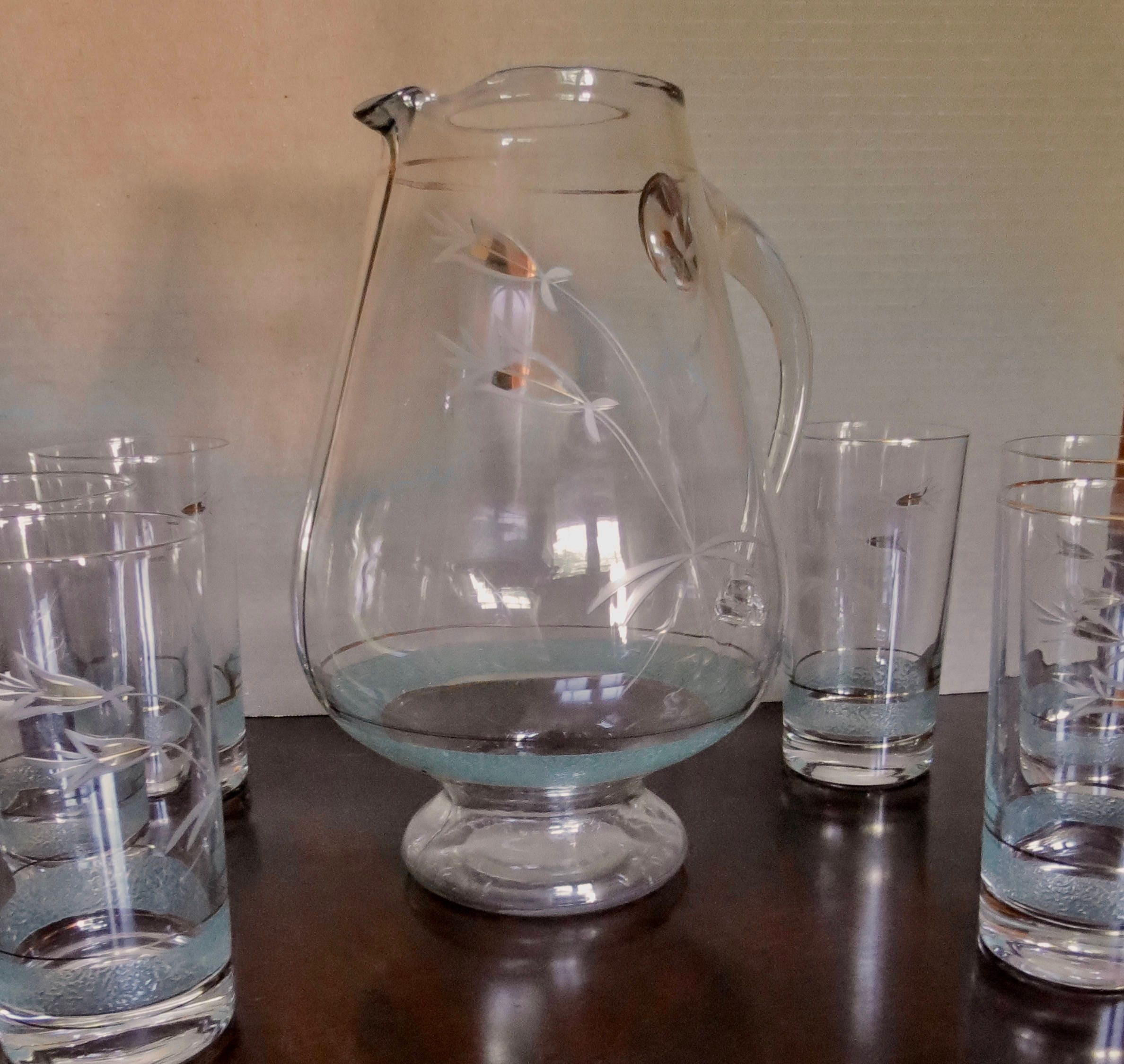 Image 3 of Vintage Pitcher Set - Mid Century Turquoise and Gold Graphics, Pitcher with Six