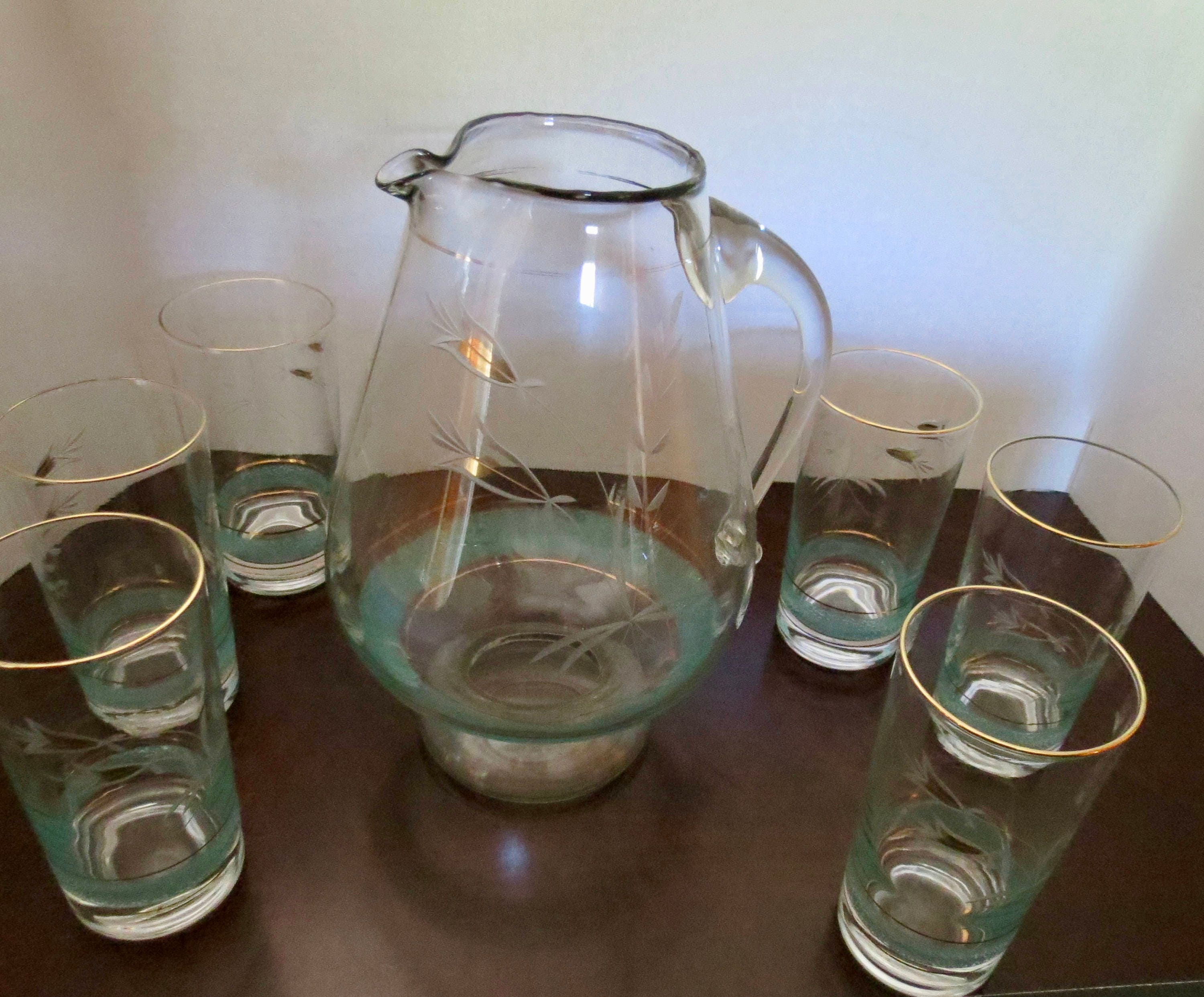 Image 5 of Vintage Pitcher Set - Mid Century Turquoise and Gold Graphics, Pitcher with Six