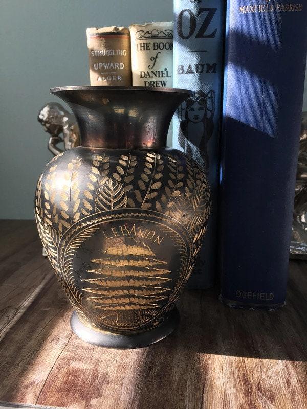Image 9 of Vintage Etched Brass Lebanon Souvenir Vase