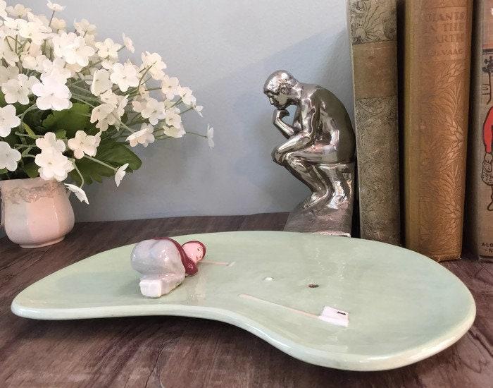 Image 8 of Mid Century Golf Green Ceramic Dish