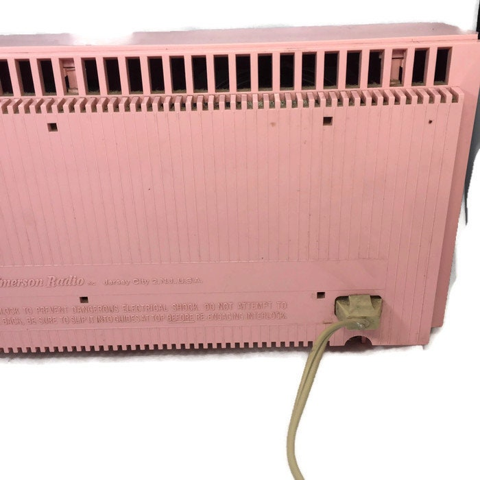 Image 6 of Mid Century Pink Clock Radio, Emerson Electric Lifetimer Telechron
