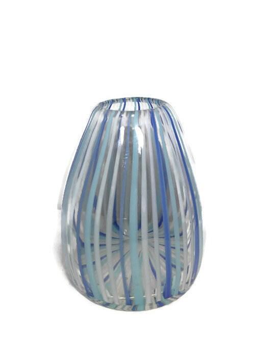 Image 7 of Mid century Murano Vase Blue Swirling Stripes Art Glass