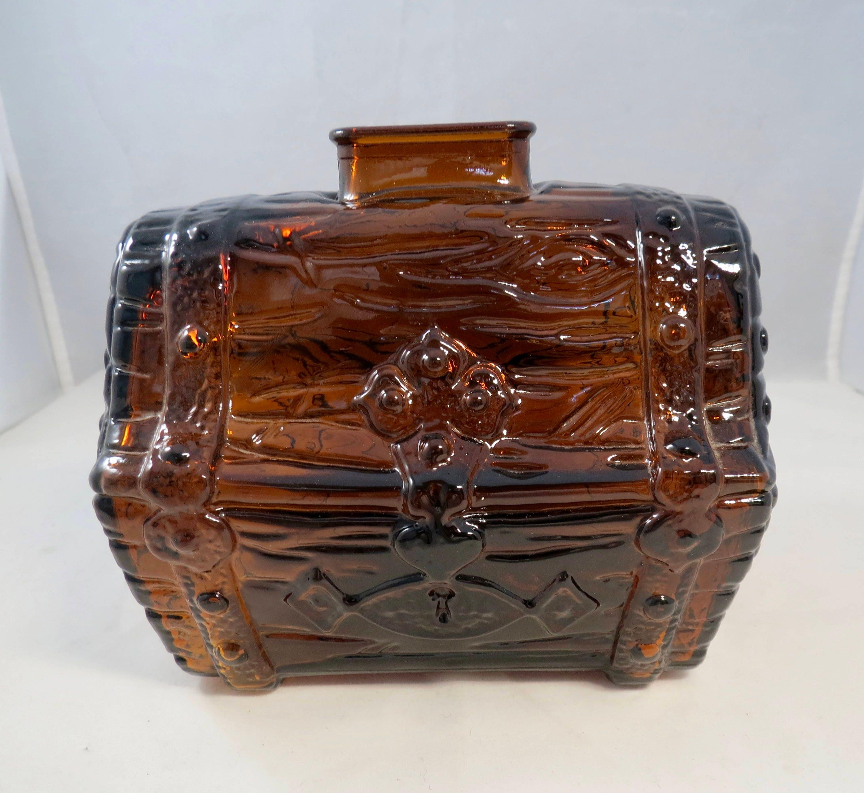 Vintage Glass Treasure Chest Bank