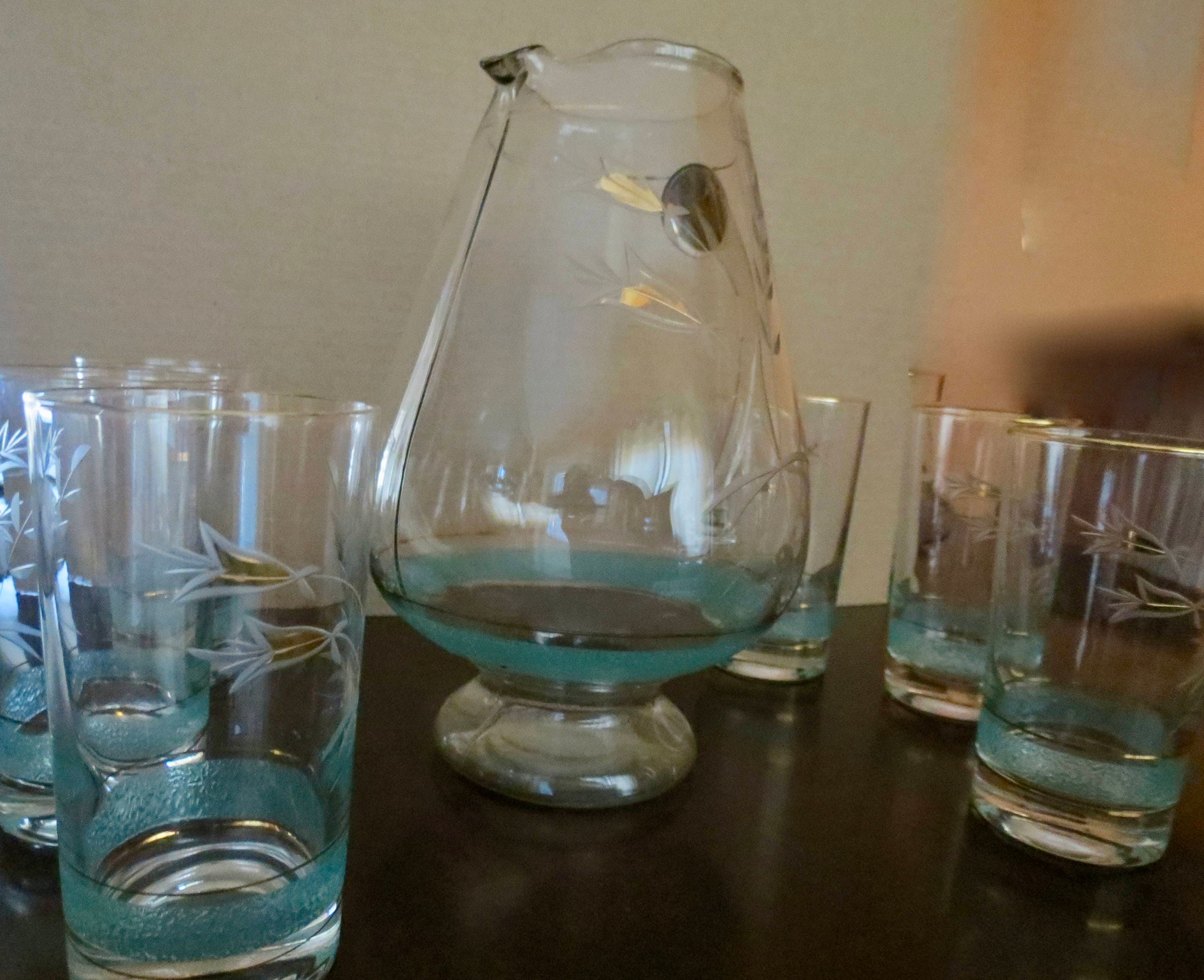 Image 1 of Vintage Pitcher Set - Mid Century Turquoise and Gold Graphics, Pitcher with Six
