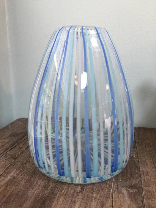 Image 9 of Mid century Murano Vase Blue Swirling Stripes Art Glass