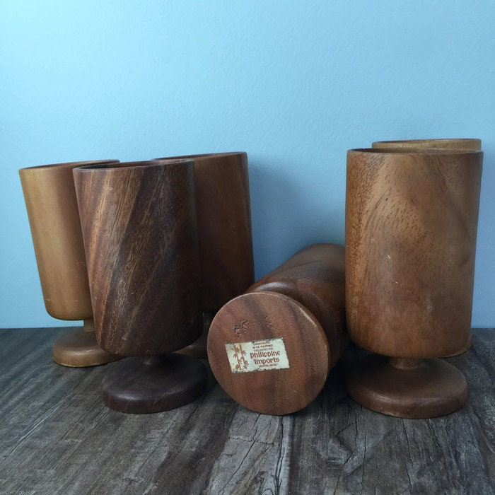 Image 2 of Mid Century Wood Pedestal Cups