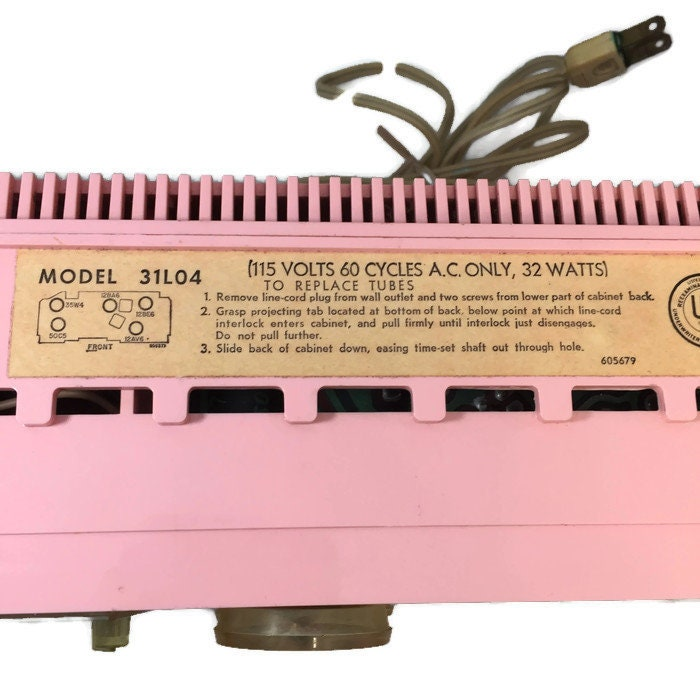 Image 8 of Mid Century Pink Clock Radio, Emerson Electric Lifetimer Telechron