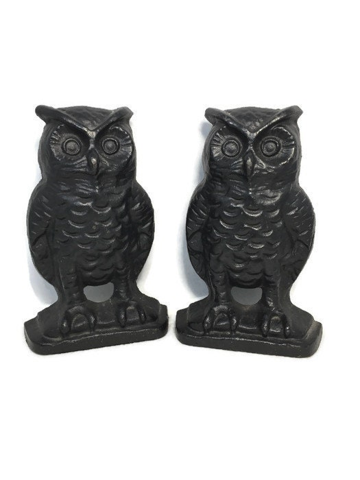 Vintage Owl Bookends, Black Cast Iron Wise Old Owls