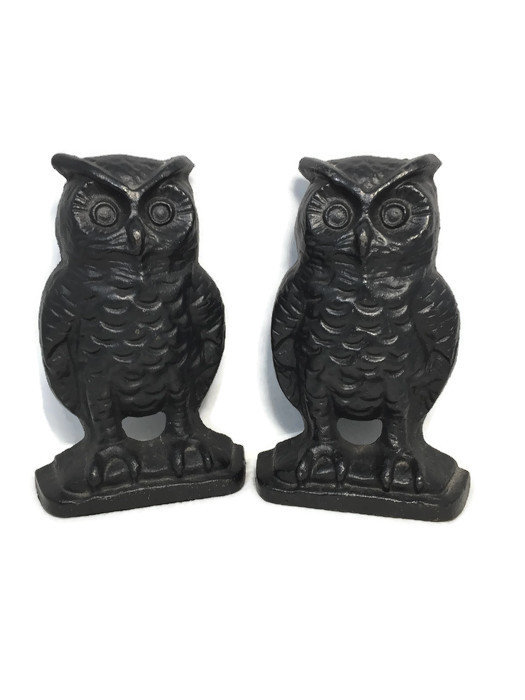Image 0 of Vintage Owl Bookends, Black Cast Iron Wise Old Owls
