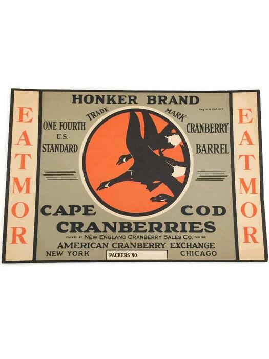 Vintage Cape Cod Cranberries Crate Label