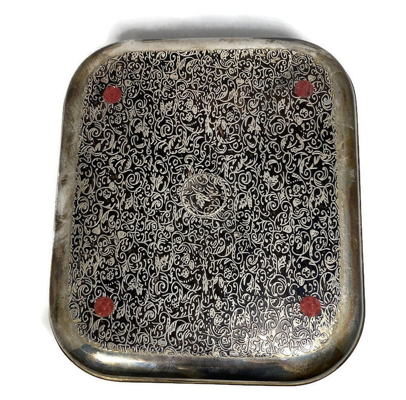 Image 8 of Vintage Ornate Silverplate Velvet Lined Jewelry Box