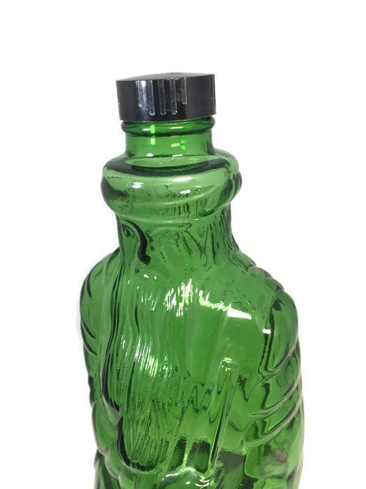 Vintage Green Santa Bottle