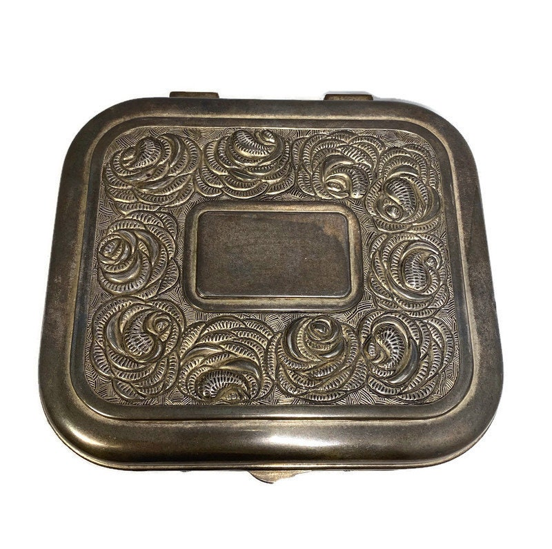 Image 1 of Vintage Ornate Silverplate Velvet Lined Jewelry Box