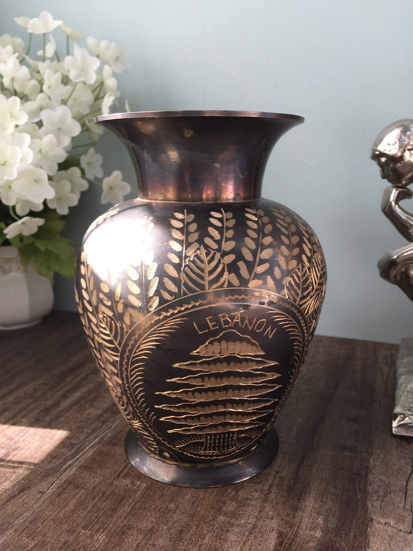 Image 6 of Vintage Etched Brass Lebanon Souvenir Vase