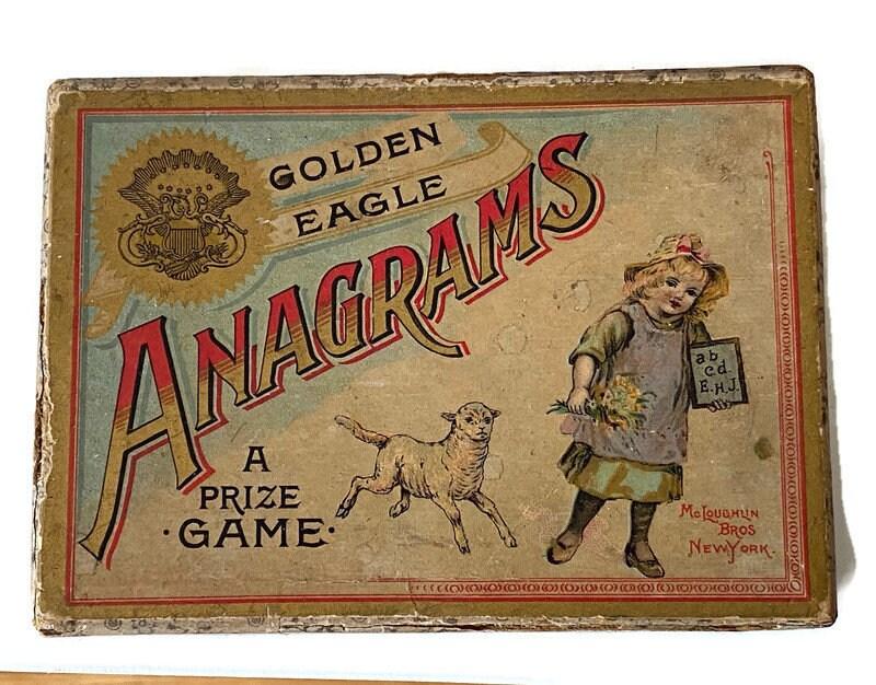 Image 1 of Antique Game - Anagrams - McLoughlin Bros, Original Box, Rare Very God Condition
