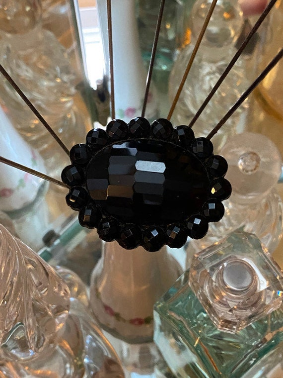 "Antique Hat Pin - 7.5"" Black Glass collectible mil"