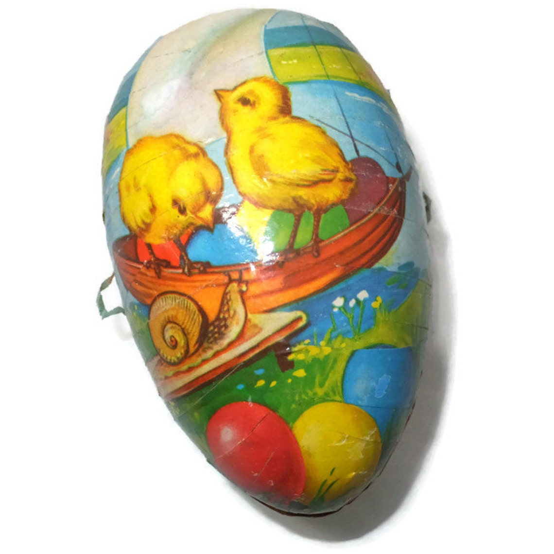 intage German Easter Egg - Paper Mache Egg, Candy Container Made in Western Germany, Chicks and Snail,