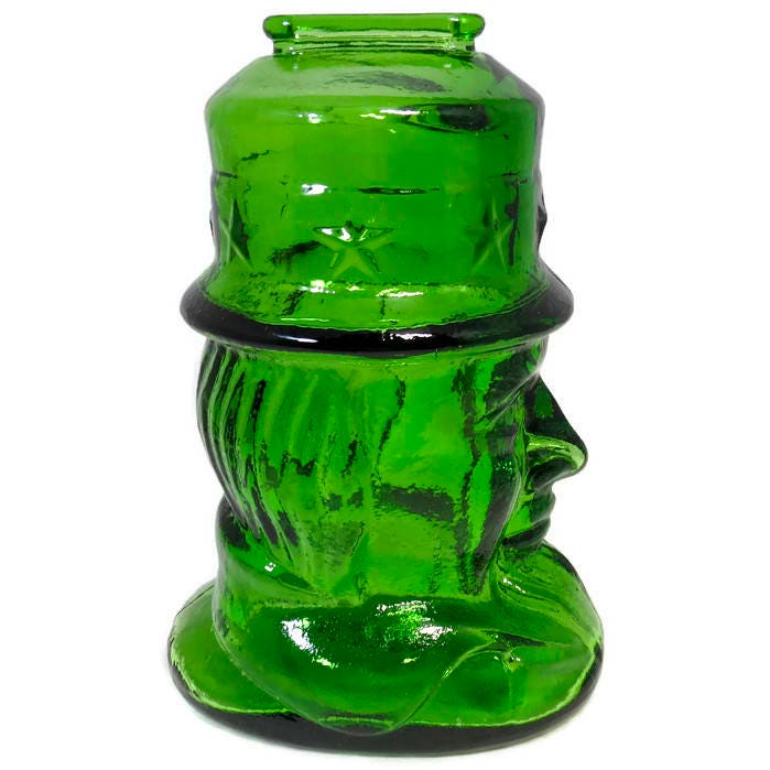 Image 2 of Vintage Uncle Sam Glass Coin Bank by Wheaton
