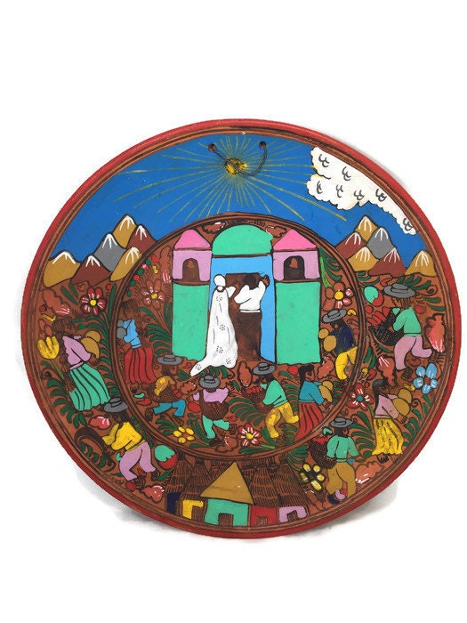 Mexican Folk Art Plate, Red Clay Wedding Dish