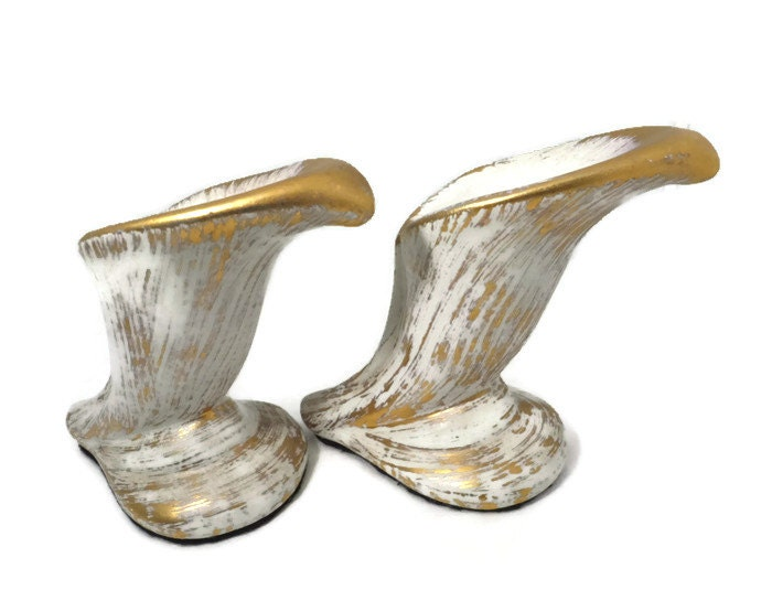 Image 0 of  Mid Century Gold Tweed Pottery Candleholders