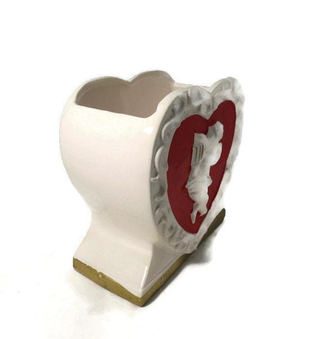 Image 4 of Vintage Valentine's Day Ceramic Planter