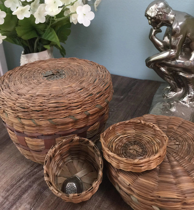Vintage Sweetgrass Sewing Basket Set