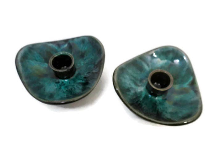 Image 4 of Mid Century Blue Mountain Pottery Candle Holders