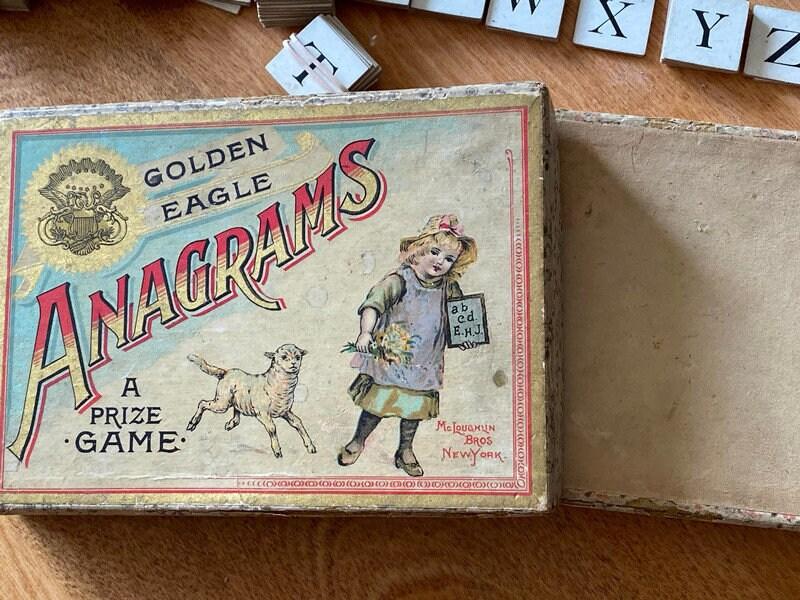 Image 5 of Antique Game - Anagrams - McLoughlin Bros, Original Box, Rare Very God Condition