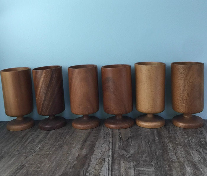 Image 9 of Mid Century Wood Pedestal Cups
