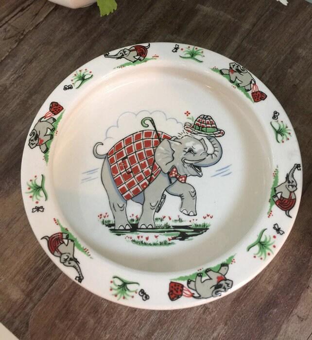 Vintage Elephant Baby Dish
