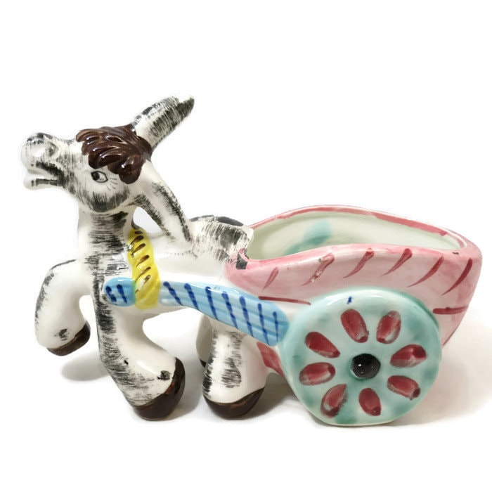 Donkey Cart Ceramic Planter