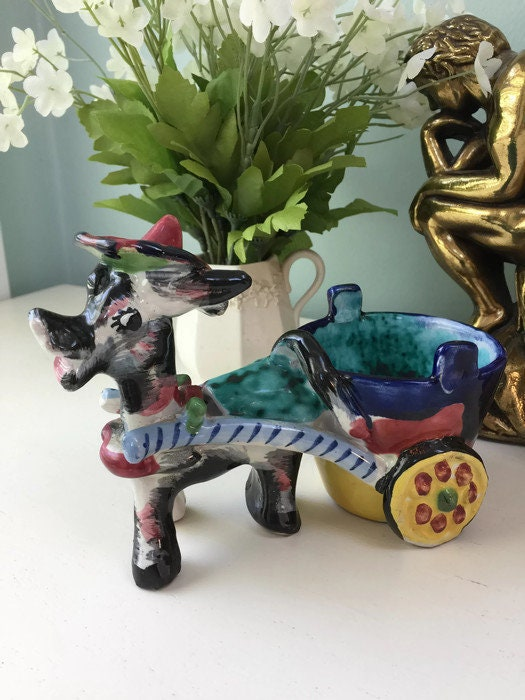Image 8 of Donkey Cart Ceramic Planter