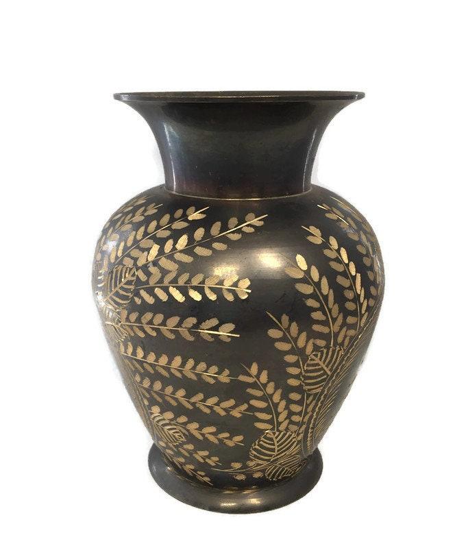 Image 2 of Vintage Etched Brass Lebanon Souvenir Vase