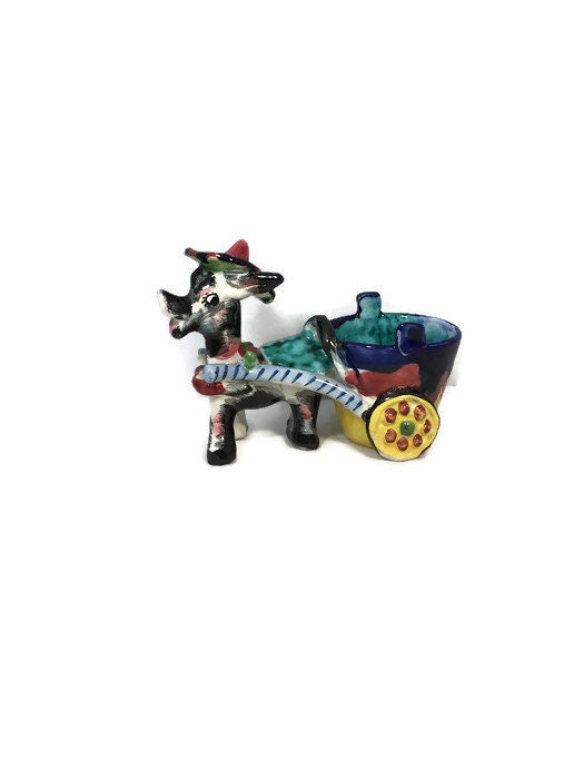 Image 1 of Donkey Cart Ceramic Planter