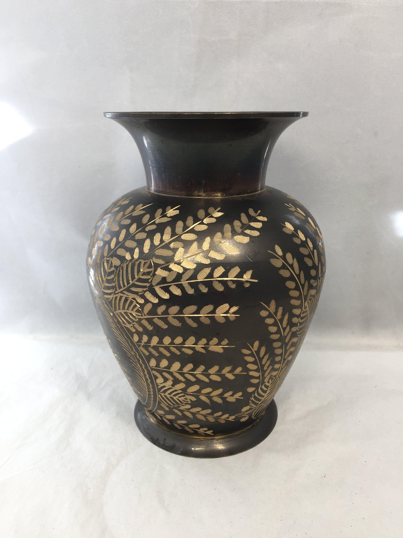 Image 4 of Vintage Etched Brass Lebanon Souvenir Vase