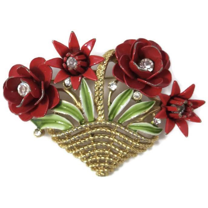 Vintage Crown Trifari Floral Basket Pin
