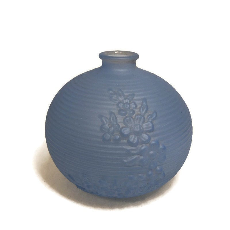 MidCentury Tiffin Blue Frosted Glass Vase